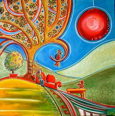 Sofa in the Sun (emilygarces) Tags: woman sun tree bird art home living countryside squirrel acrylic personal space room canvas sofa fields