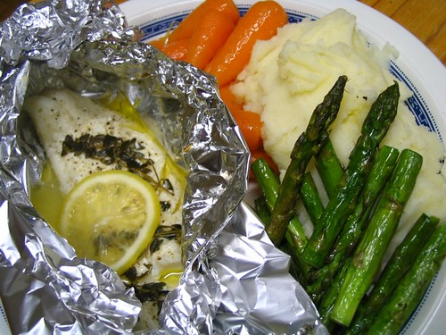 Steamed fish with thyme and lemon butter