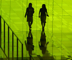 Green Silhouettes (Life in AsiaNZ) Tags: 3 color green glass lines backlight canon reflections asian three airport women singapore g silhouettes terminal powershot international fv10 series changi reflexions tinted g9 gseries diamondclassphotographer f