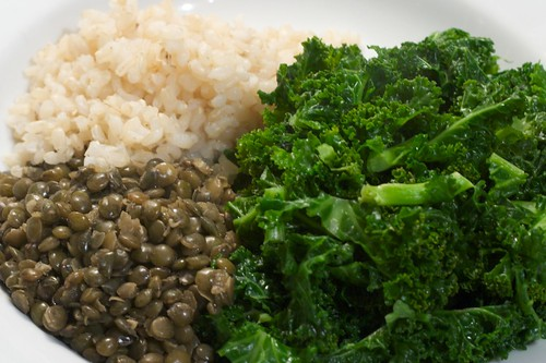 Lentils, Rice and Curly Kale