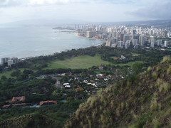 View from Diamond Head Crater, Honolulu, Waikiki Oahu, Hawaii