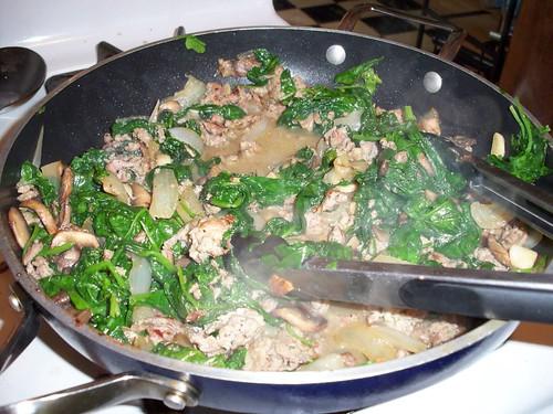 Sausage, Spinach, Mushroom, Onion, Garlic saute