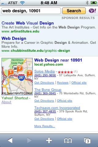 Yahoo Search on iPhone