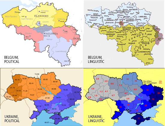 Belgium and Ukraine by politics and language