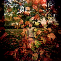 autumn fun (microabi) Tags: park autumn london leaves holga october colours doubleexposure jacob greenwich running 2007 greenwichpark funfunfun mybd wtcd2007e