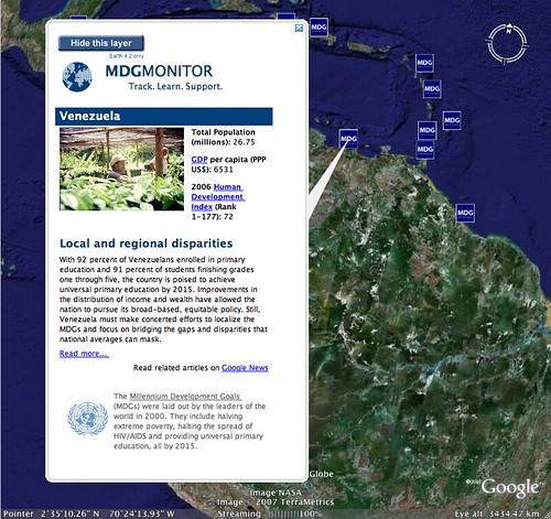 Google Earth Millennium Development Goals Layer