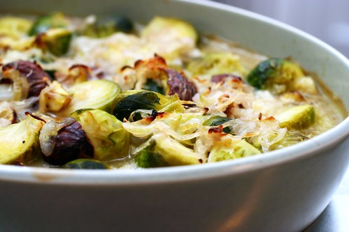 brussel sprouts and chestnuts in brown butter