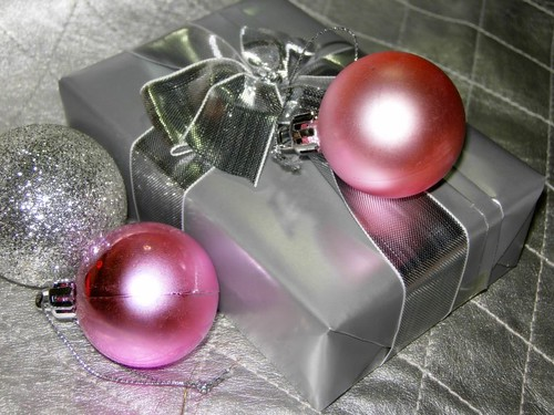 pink christmas present silver box