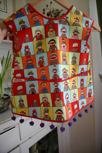 sock monkey apron front