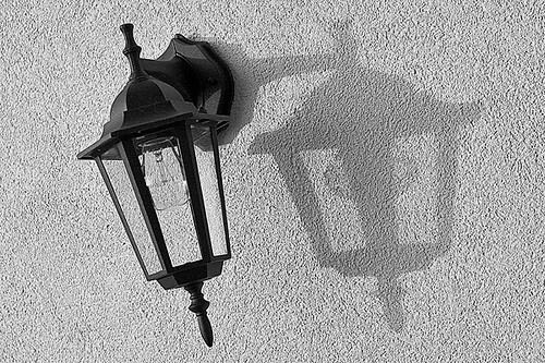 lamp and shadow on balcony