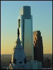 Partial Philadelphia Skyline - 23/365+1 - 01/23/08 (Harpo42) Tags: sunset tower philadelphia statue skyline comcast dusk cityhall center indians philly 2008 eagles nativeamericans verizon january23 psfs williampenn blueribbonwinner bellatlantic project365 mywinners pennstreaty 233651