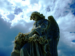 (generodz) Tags: blue light roses sky color monument beautiful statue stone angel clouds unusual formations statuesque diamondclassphotographer flickrdiamond