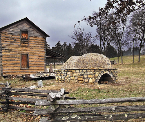 Saint Joachim Roman Catholic Church, in Old Mines, Missouri, USA - log cabin