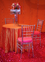 orange & pink tablescape