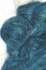 one skein down (Stellae et Luna) Tags: sweater knitting mediterranean teal crafts silk wip yarn mohair projects rib janeausten alchemy knittycom stockinette crocuslace