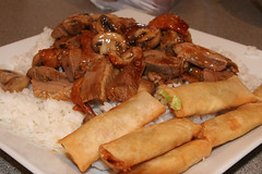 Takeaway roast duck with mushrooms and mini spring rolls from China Palace restaurant, Leith, Edinburgh