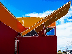 The Shape of Things to Come (Steve Taylor (Photography)) Tags: dennys restaurant downpipe slope art architecture digital design roof colourful newzealand nz southisland canterbury christchurch shape tree lines outline diagonal cloud sky sunny angle