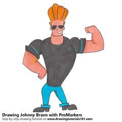 Johnny Bravo with ProMarkers (drawingtutorials101.com) Tags: johnny bravo tv cartoons cartoonnetwork promarkers alcohol markers promarker color coloring drawing draw drawings how sketch sketches sketching pencil