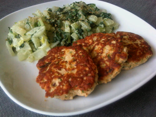 Salmon celery patties