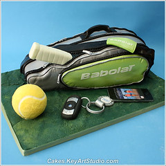 Tennis Bag Cake (Cakes.KeyArtStudio.com) Tags: green sports sport cake ball bag ipod chocolate montreal ibm player tennis bmw racket raquette iphone fondant gumpaste babolat larissavolnitskaia keyartstudiocakes