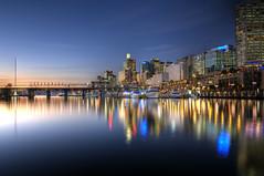 Sunset at Darling Harbour HDR (john davey2011) Tags: sunset reflection sydney australia nsw darlingharbour flagpole monorail hdr pyrmontbridge cocklebay johndavey nikond7000 johndaveyrocketmailcom