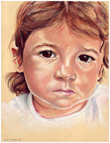 Colored Pencil portrait entitled Clara at 15 Months II