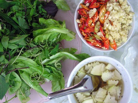 bun cha greens and condiment