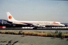 """National Airlines Douglas DC.8-21, N6572C, (45392/45), """"Sally"""", SFO/KSFO, 1971, courtesy Jacques Guillem (AlainDurand) Tags: sanfrancisco sfo na douglas airlines airliners dc8 ksfo jetliners nationalairlines douglasdc8 alaindurand dc821 airlinesoftheamericas jacquesguillem ln45 airlinesoftheusa n6572c douglasdc821 msn45392 4539245"""