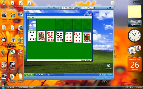 Windows XP running in a VMware Player virtual machine inside Vista.