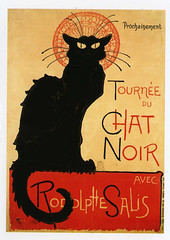 postcard from Paris (Jassy-50) Tags: paris france art animal cat blackcat artwork chat drawing postcard chatnoir steinlen oldprint vintagereprint