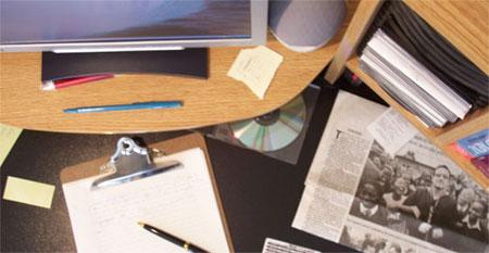 Cluttered Computer Desk