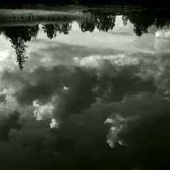 Pond and Cloud (Olli Keklinen) Tags: blackandwhite bw water clouds photoshop suomi finland square pond nikon d200 kuopio 2007 reflectiond ok6 ollik 20071206