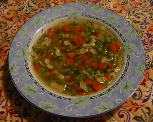 Vegetable Soup with Bow Ties and Dill
