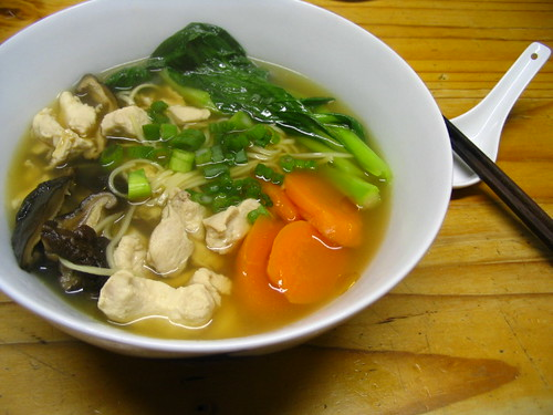 Chicken ramen in turkey broth