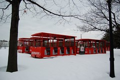 Mini train cars in snow