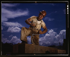 A carpenter at the TVA's new Douglas dam on th...