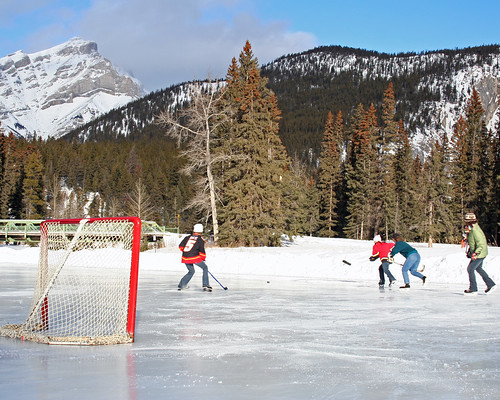 Pond Hockey at the Fairmont Banff Springs