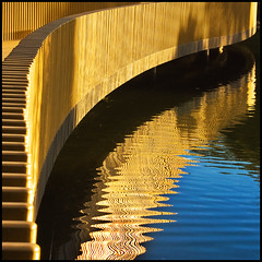 Reflecting Curves (adrians_art) Tags: blue orange london water lines yellow kew gardens reflections patterns curves lakes parks structures bridges abstracts firstquality mywinners aplusphoto