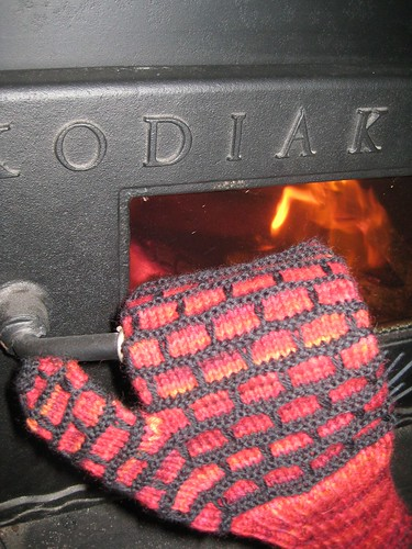 firebrick mittens helping load more wood