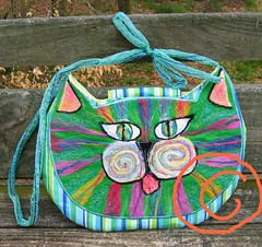 Green & Blue Cat Purse Face.... (Laurie LS Wright (DoodleBugDezines)) Tags: felted cat bag felting kitty purse fiberart fiber doodlebug yarns embellisher doodlebugdezines machineneedlefelted dezines laurielswright