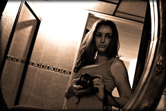 pulse (ladyinpink) Tags: woman selfportrait sepia mirror alive pulse nikond80