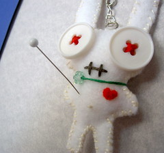 albino voodoo bunny (Protean Crafts) Tags: white cute rabbit bunny animal miniature funny doll handmade zombie small humor mini felt charm plush softie kawaii button plushie albino handcrafted etsy voodoo ecofriendly