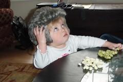 Cate wearing a Bill Clinton wig