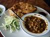 Chole Bhatura (su-lin) Tags: food brown london bread restaurant salad cafe sauce indian cucumber fluffy spoon bowl onion fried southall chana ritas tamarind channa chole bhatura imli