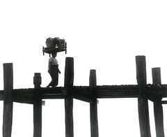 wood works (richard thomson) Tags: blackandwhite bw burma symmetry 35mmfilm myanmar balance mandalay teak amarapura ubeinbridge nikonfe2 scanofaprint bwart1week