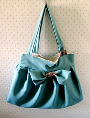 XL Teal Bow Bag (Katie Gariepy) Tags: wood cute bag giant gold teal grain large stretch canvas cotton purse bow kawaii faux jolie hobo xl tote extra bois pleats dring
