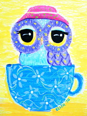 Owl Art - Owl In A Teacup (Udonchow Cute Owl Art And Gifts) Tags: flower cute bird art cup floral hat animal yellow painting print children fun tea nursery owl etsy udonchow ellenchia