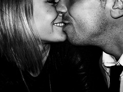 Love Is... (James_Marsh) Tags: two portrait people bw selfportrait love face happy kiss faces teeth expressive embrace