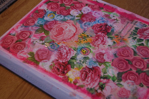 Altered book cover with roses