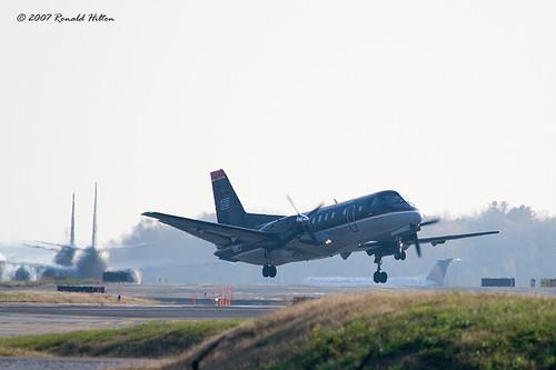 Saab 340 Turboprop. Saab 340 Taking Off Runway 33